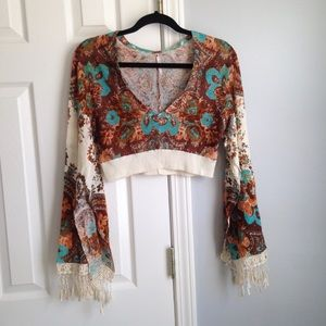 Free People cropped boho lace trim top Size S